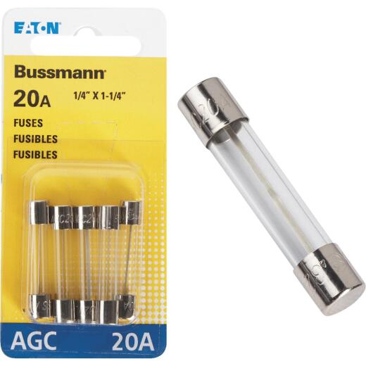 Bussmann 20-Amp 32-Volt AGC Glass Tube Automotive Fuse (5-Pack)