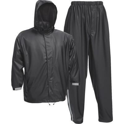 West Chester XL 3-Piece Black Polyester Rain Suit